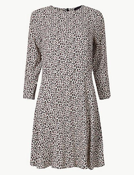 Animal Print Fit & Flare Mini Dress