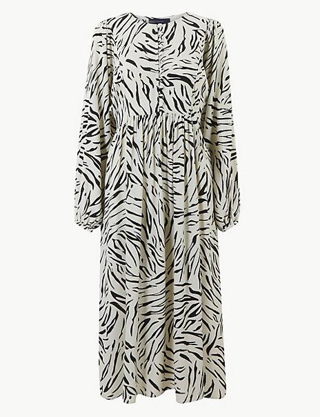 Animal Print Relaxed Midi Dress