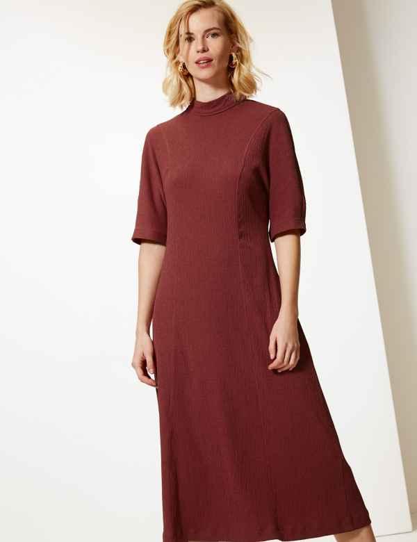 6148ed2aa71f Textured Jersey Column Midi Dress