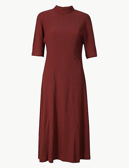Textured Jersey Column Midi Dress