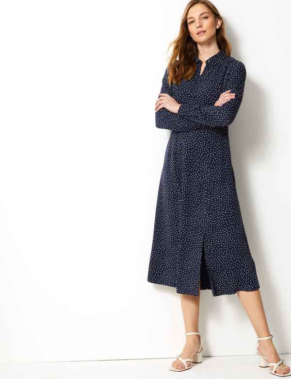 17c46942b4d Polka Dot Shirt Midi Dress