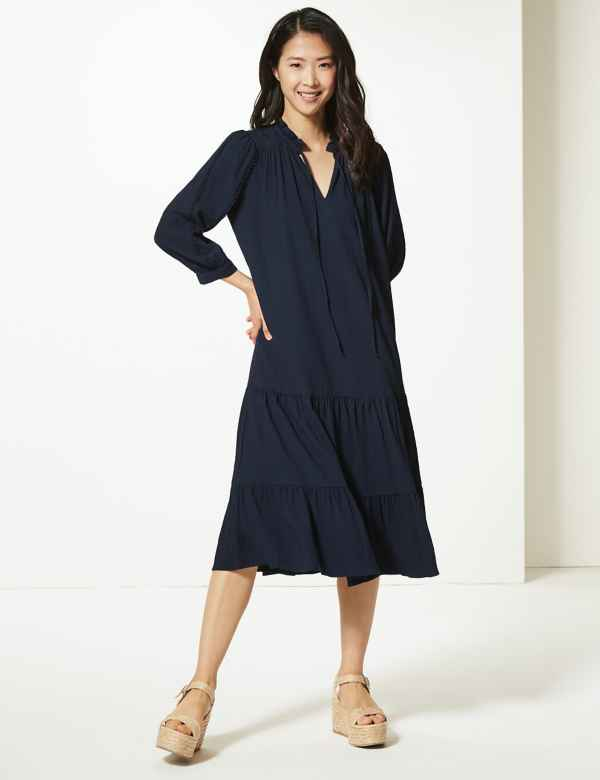 471cb51e1da Crinkled Relaxed Midi Dress