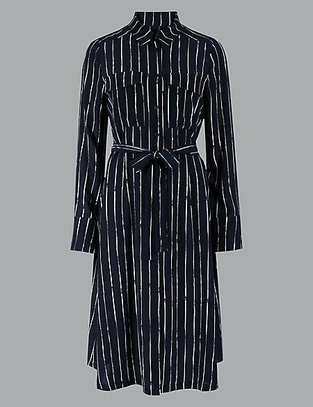 Pure Silk Striped Shirt Dress