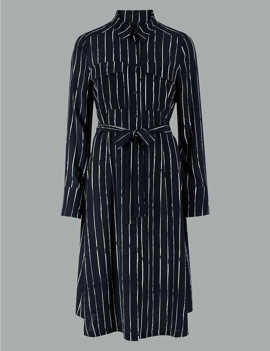 Pure Silk Striped Long Sleeve Shirt Dress Autograph Ms