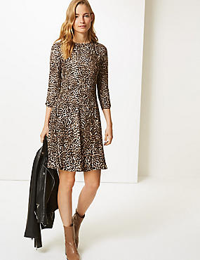 Animal Print 3/4 Sleeve Swing Mini Dress, BROWN MIX, catlanding