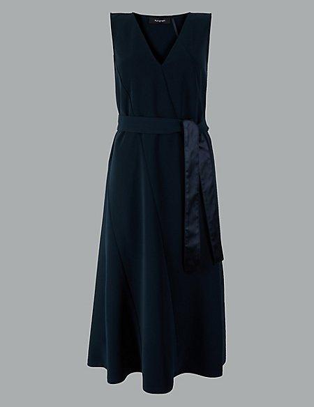 Seam Detail Waisted Midi Dress