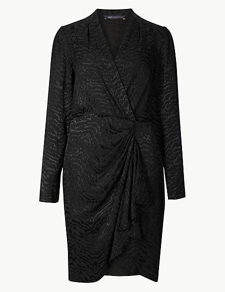 Animal Print Long Sleeve Wrap Mini Dress