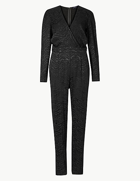 Animal Print Long Sleeve Jumpsuit