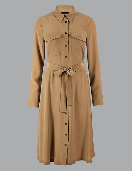 Pure Silk Long Sleeve Shirt Midi Dress