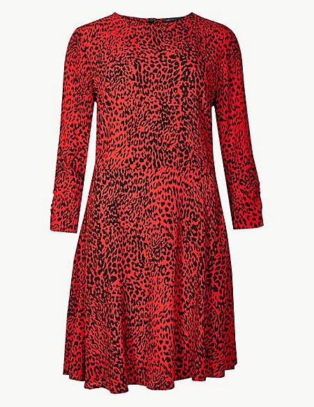 Animal Print 3/4 Sleeve Swing Mini Dress