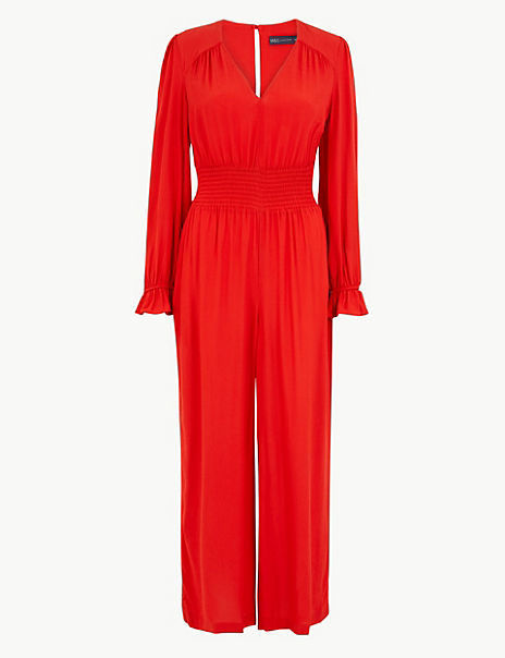 Frill Detail Waisted Jumpsuit