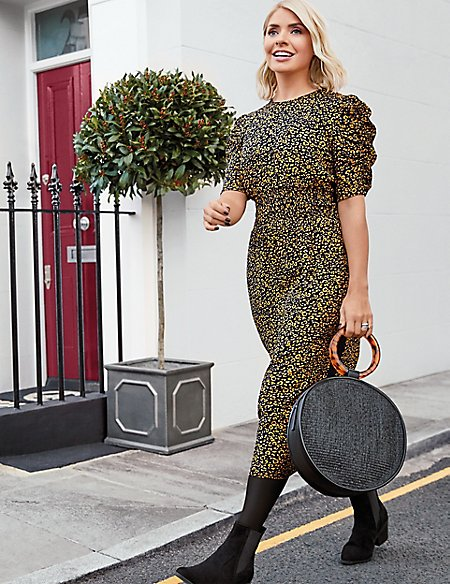 Animal Print Waisted Midi Dress