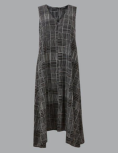 Pure Silk Printed Swing Midi Dress