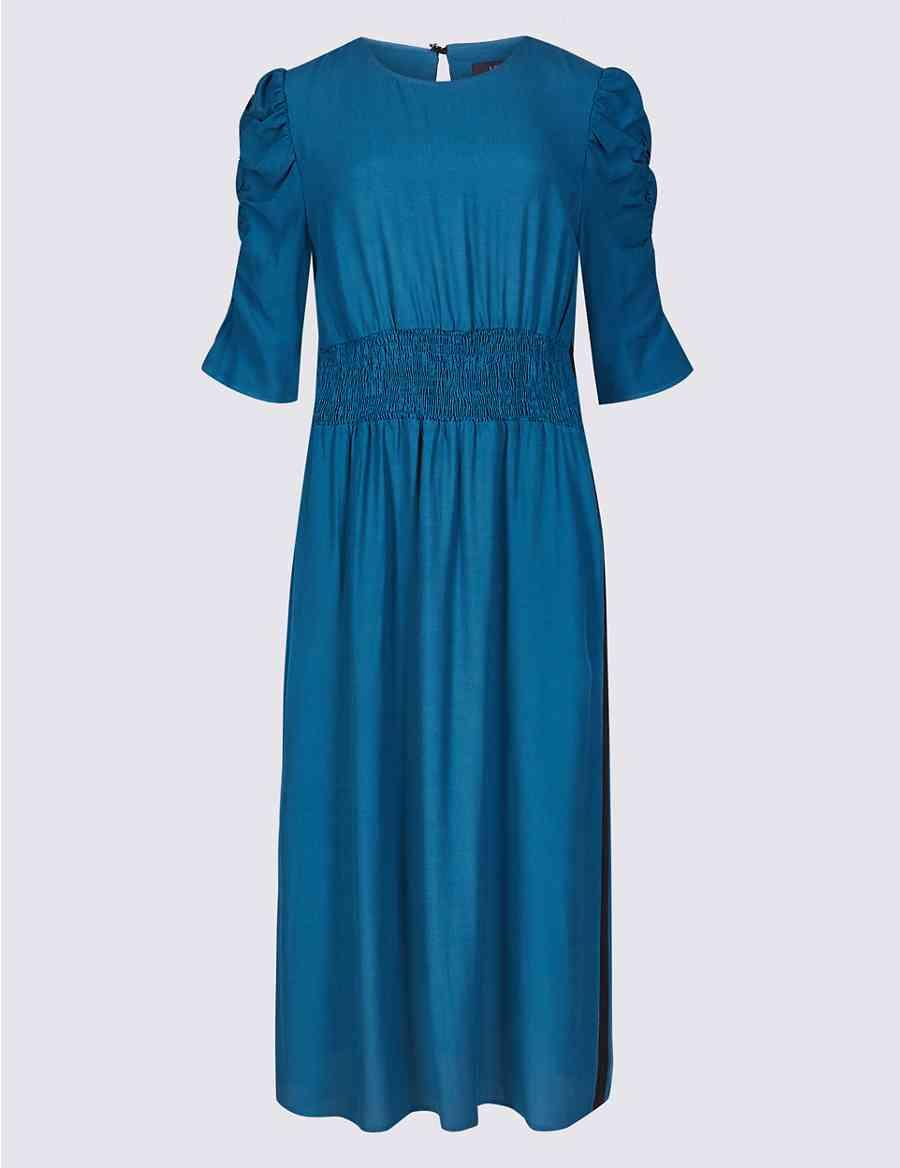 45fb542754c2 Half Sleeve Waisted Midi Dress