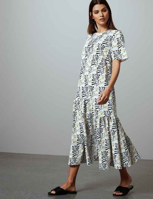 7bc14760e2 Leaf Print Relaxed Midi Dress