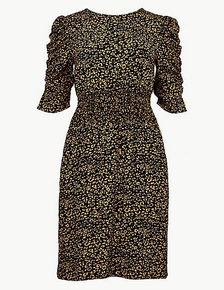 Animal Print Half Sleeve Tea Mini Dress