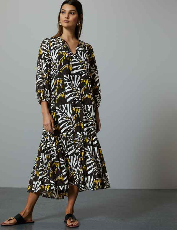 368e6b1a8d Leaf Print 3 4 Sleeve Relaxed Midi Dress