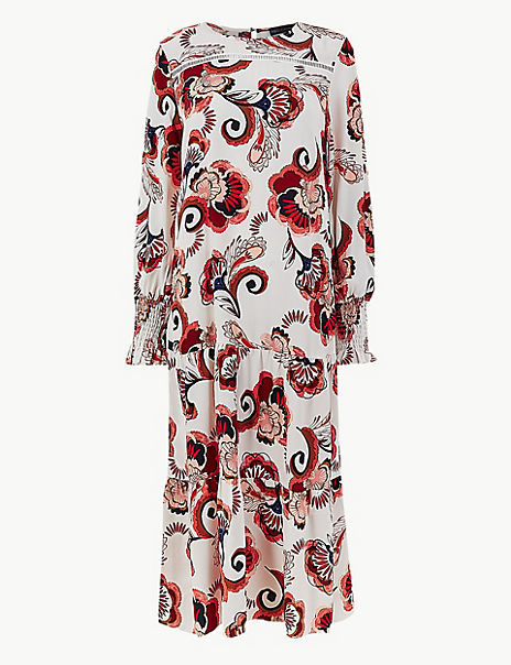 Printed Shirred Cuff Relaxed Dress