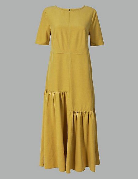Asymmetric Relaxed Midi Dress