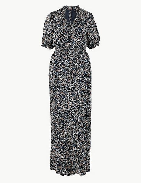 Floral Shirred Waist Jumpsuit