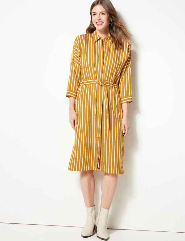 bbc7624091c43 Striped 3 4 Sleeve Shirt Dress