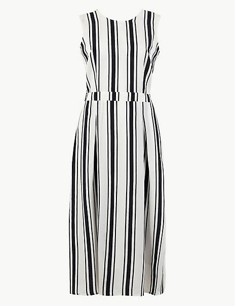 Striped Waisted Midi Dress