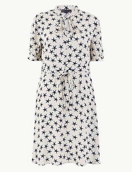 Star Print Waisted Mini Dress