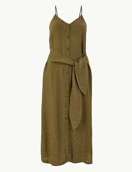 Jacquard Tie Front Waisted Midi Dress