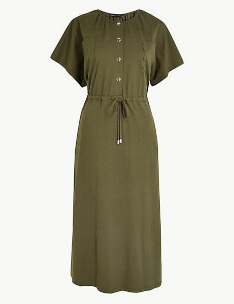 Pure Cotton Utility Jersey Waisted Midi Dress