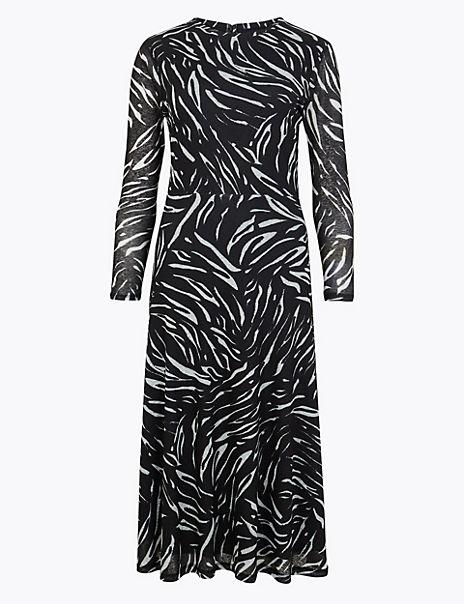 Animal Print Jersey Waisted Midi Dress