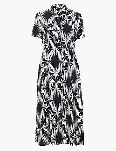 Diamond Print Shirt Midi Dress