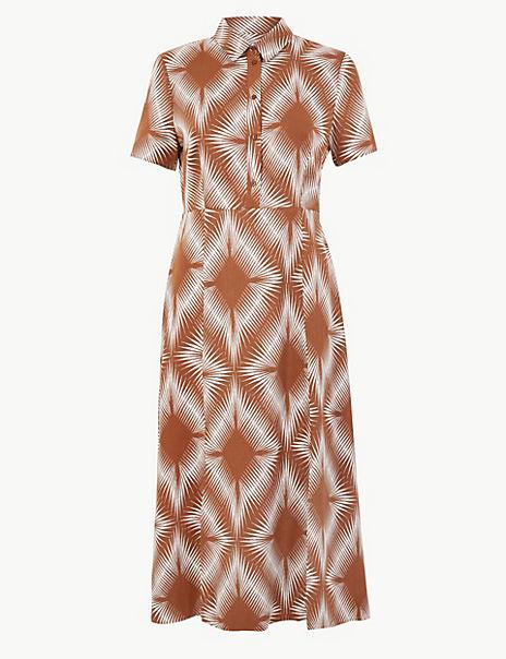 Diamond Print Shirt Midi Dress