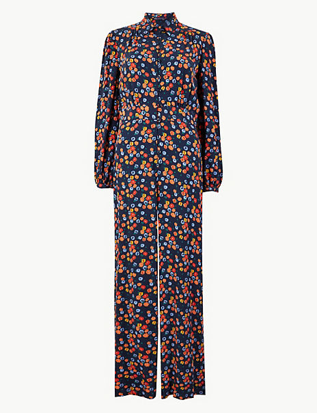 Floral Print Button Detailed Jumpsuit