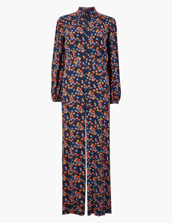 1f899ef7514 Floral Print Button Detailed Jumpsuit