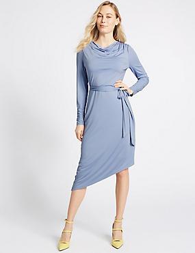 Cowl Drape Long Sleeve Bodycon Midi Dress