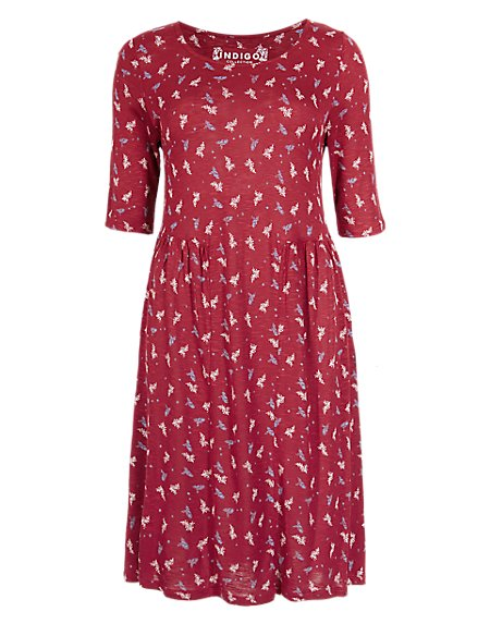 Leaf Print Panelled Tunic Dress