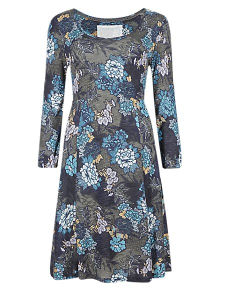 3/4 Sleeve Floral Skater Dress