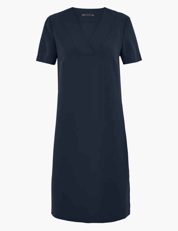 Summer Dresses For Women Clearance Casual Summer Loose Short Sleeve Dress With Belt For Anniversary,Party,Valentines Day Navy,M