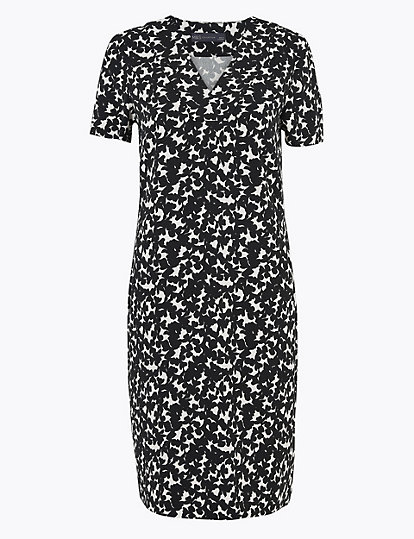 Knee Length New Black and White Floral Shift Dress