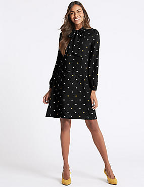 Printed Notch Neck Long Sleeve Swing Dress, BLACK MIX, catlanding