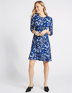 Floral Print Jersey Swing Dress, BLUE MIX, catlanding