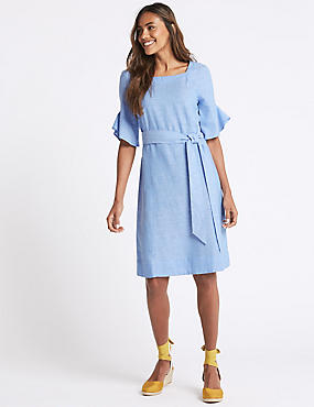 Linen Blend Half Sleeve Tunic Dress