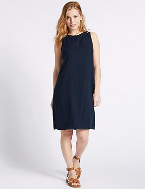 PETITE Linen Blend Tunic Dress