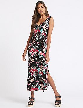 Floral Print Ruched Front Jersey Slip Dress