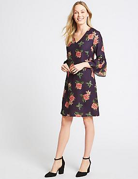 Floral Print Flared Cuff Sleeve Tunic Dress