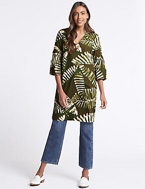 Pure Cotton Printed 3/4 Sleeve Tunic Dress