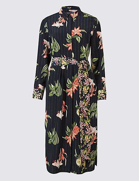 PETITE Floral Print Shirt Midi Dress