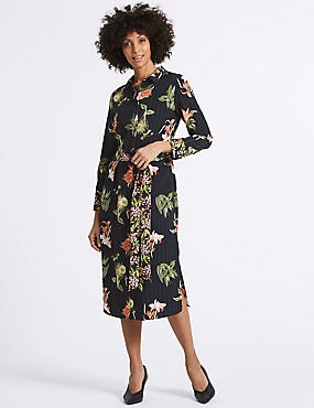 Floral Print Long Sleeve Shirt Midi Dress, BLACK MIX, catlanding