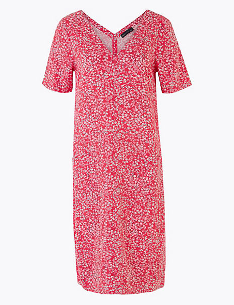 Linen Ditsy Floral V-Neck Shift Dress