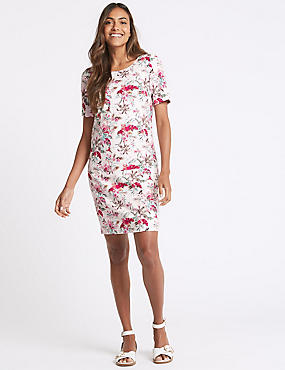 Linen Blend Floral Print Tunic Dress , IVORY MIX, catlanding